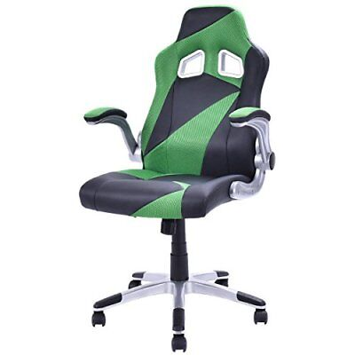 Giantex Executive Racing Chair PU Leather Bucket Seat Gaming Computer Desk Green