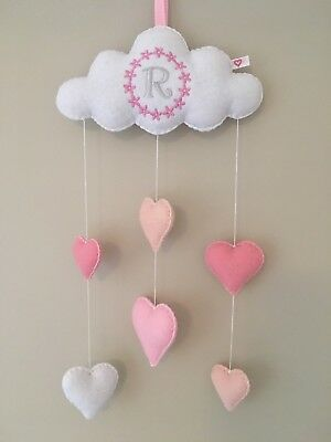 Monogram personalized baby nursery mobile cloud heart wall hanging decoration