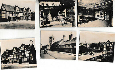 6 SMALL VINTAGE SEPIA PHOTOGRAPHS  STRATFORD UPON AVON - SHAKESPEARE'S HOUSE etc