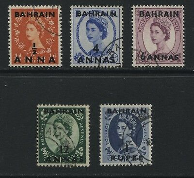Bahrain 1956-57 St Edward's Crown set of 5 stamps SG97-101 Used - AY186
