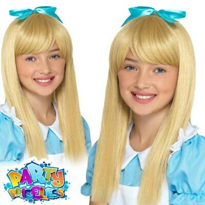 Child Wonderland Princess Wig Alice Girls Book Week Day Fancy Dress Accessory