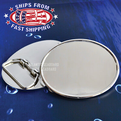Polished Chrome Silver Oval Belt Buckle Blank - DIY
