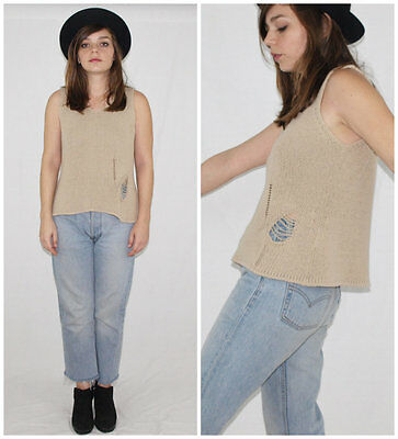 """Vtg 90´s LA MAGLIA """"destroyed"""" knit top MARZIPAN minimalist MADE IN ITALY grunge"""