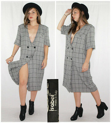Vintage 80´s dress ULTRA DEEP PLUNGING monochrome houndstooth MADE IN ITALY chic