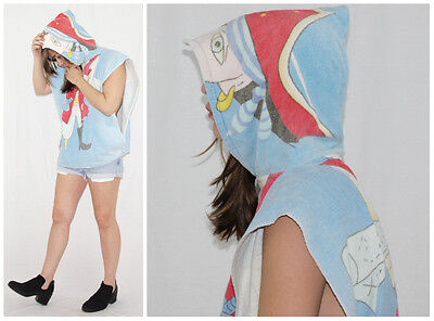 Vintage 80´s HOODED TOWELL-PONCHO pastel blue PIRATE open sides BEACH festival