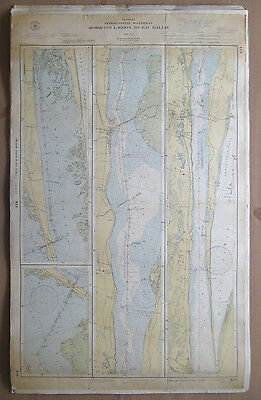 "Vtg 1943 C&GS Nautical CHART #844 INTRACOASTAL WATERWAY FL 24"" x 38.5"""