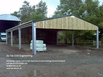 Steel Framed Farm Agricultural Building Shed Barn Supply & Build or in Kit Form