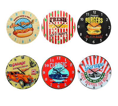 Nostalgic Glass Wall Clock Retro American design with classic hot rod cars 30 cm