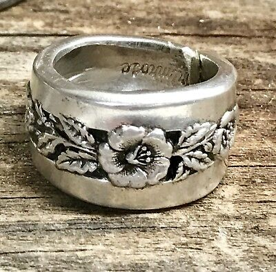 Vintage Antique Sterling Silver Plated Flatware Spoon Ring Silverwear Jewelry