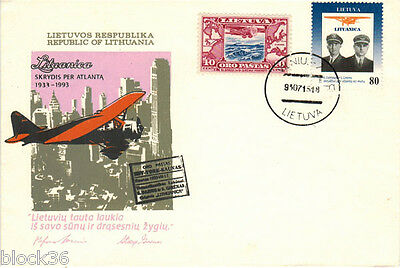 1993 VERY RARE stamped Lithuanian Letter cover SKRYDIS PER ATLANTA