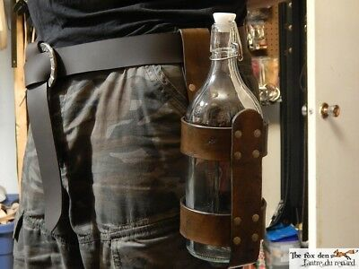 Large medieval style glass bottle with leather holder and 2 closure. LARP.