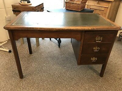 Old Oak Writing Desk Leather Top & Drawers 4ft W X 68cm D