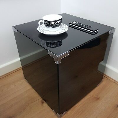 Gloss Black Bedside Nightstand Bedroom Modern Table with Storage Small Furniture
