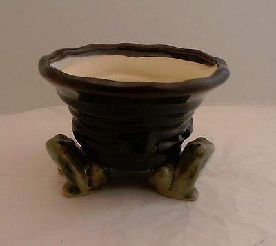 Pair Of Small Decorative Ceramic Frog-Themed Planters