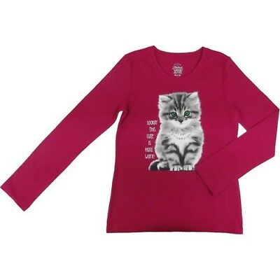 Faded Glory Girl's Embellished Cat Long Sleeve T-Shirt Rose Sangria 10/12