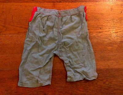 c1920 Young boys/ toddler pants with suspender holes, green with red stitching