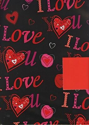 Valentines 2 Sheets Of Gift Wrap Wrapping Paper +1 Tag 1Stp&p I Love Hearts