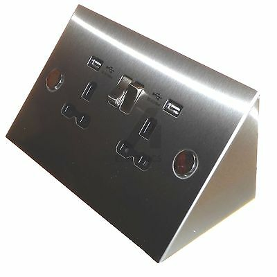 Double socket with USB charger ports under cupboard, cabinet, or corner mount