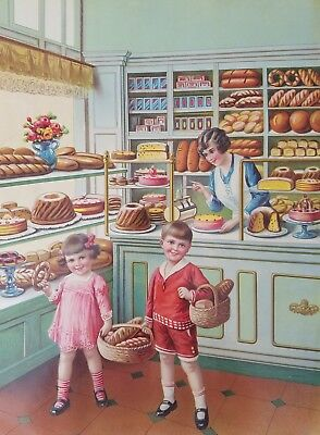 Vintage 1930-40's Germany Lithograph Print Poster Bakery Children Cakes Bread