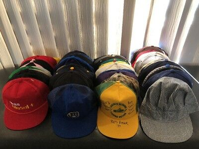 Vintage SnapBack Hat Cap Lot Of 50 Sports Ads Mesh Trucker Fitted Strap Dad Etc