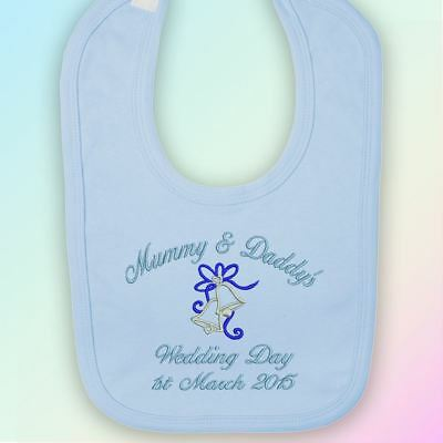 Mummy & Daddy's Wedding Day Embroidered Baby Bib Gift Personalised Mum Dad