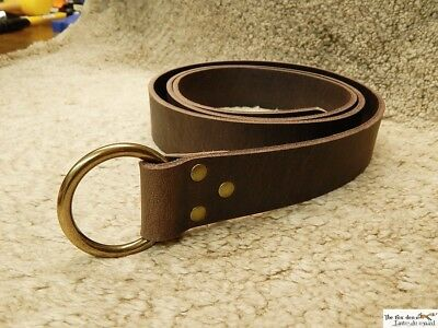 Medieval belt with O ring. 9oz thick leather version. Black or brown. LARP