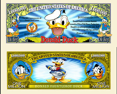 DONALD ! BILLET MILLION DOLLAR US! Collection dessin animé Disney Duck Mickey bd
