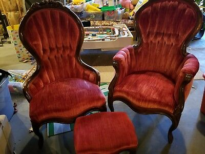 Vintage Victorian His And Hers Parlor Chairs With Mahogany Roses and footstool