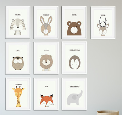 Nursery Animal Prints Peekaboo Nursery Prints Neutral Baby Bedroom Decor A4