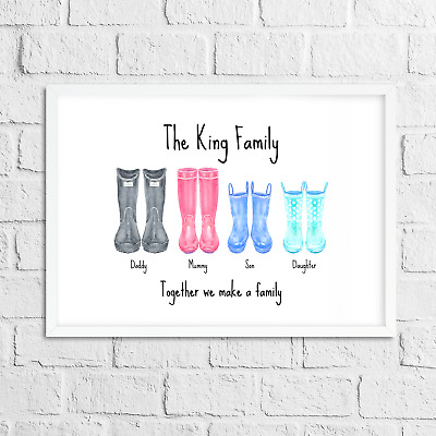 Personalised Gift Wellies / Welly Print with Family Name - Keepsake / Present