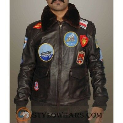 Tom Cruise Pete Maverick Top Gun Flight Bomber Fur Collar Real Leather Jacket