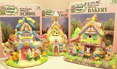 Cottondale Cottages, Lot of 3: Bakery, School, Church. 1999