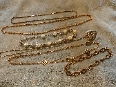 Lot of 6 Vintage Gold Tone Necklaces Chains Choker Signed Barclay Germany LCI