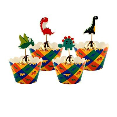 24 PCS Dinosaur Cupcake Toppers Boys Birthday Cake Topper Bunting Wrap Party