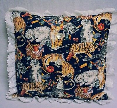 Cat Throw Pillow Kitty Sewing Notions Navy Blue Kitty Print Gift Handmade