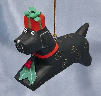 Wooden Dog With A Gift Box Christmas Ornament New