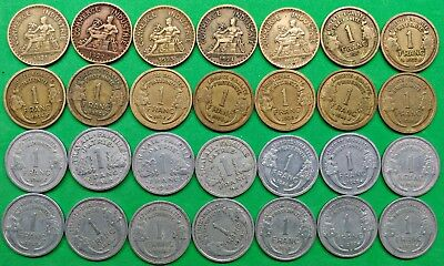 Lot of 28 Different Old French 1 franc Coins 1921-1959 Vintage France !!