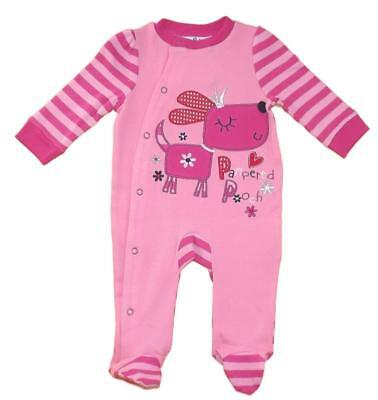 Jack and Lily Cute Baby Girls Soft Cotton Romper Babygrow Dog Pooch Design
