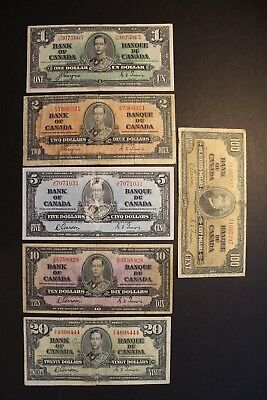 1937 Bank of Canada King George 6 Note Set $1,$2,$5,$10,$20,$100