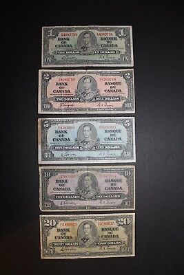 1937 Bank of Canada King George 5 Note Set $1,$2,$5,$10,$20