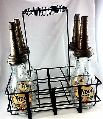 Tydol Flying A Logo Gas Station Motor Oil Glass Bottles With Carrying Rack