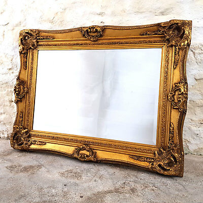 """C18th Baroque Style Flared Gilt Framed Wall Mirror 3'4"""" x 2'6"""" (Antique)"""