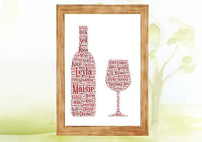 Wine Lover  Glass and bottle Personalised Word Art Print Perfect Gift Present