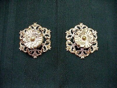 Vintage Brass Pull Knobs Back Plates Gold White Antique Look French Shabby Chic