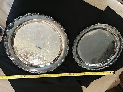 Vintage Sterling Silver Plate Trays Lot Of 2 Oneida