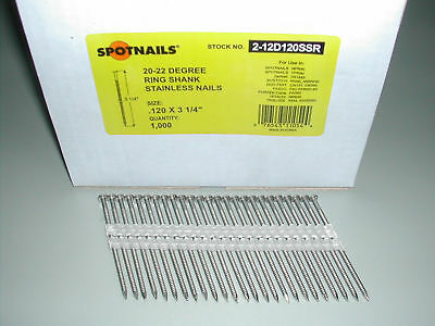 """3 1/4"""" Ring STAINLESS STEEL Full Round Head 21 Degree Nails (4,000) 2-12D120SSR"""
