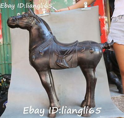 Old Chinese Bronze Fengshui Zodiac Year Tang Horse Horses Success Animal Statue