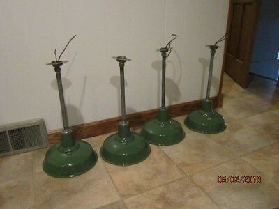 "Vintage Industrial Green Porcelain Enamel Gas Service Station Barn Light 12"" #2"