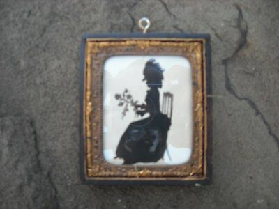 Antique 19th or 20th Century Woman Chair Flowers Silhouette in Old Frame Case