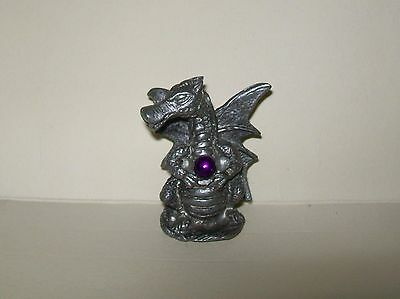 VINTAGE MINIATURE SILVER-tone DRAGON w/FAUX PURPLE BALL 4cm (pewter?)